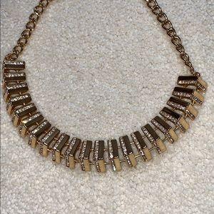 BCBGMAXAZRIA gold and rhinestone necklace